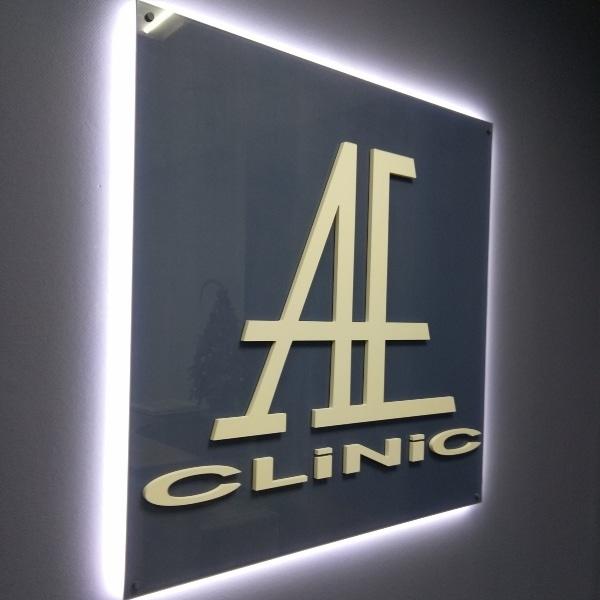 Вывеска на подложке <br/>«AE-Clinic»
